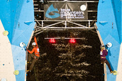 Head to head women climbing competition stock image