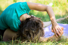 The head to knee yoga posture Royalty Free Stock Images