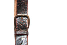 Head and toe old vintage natural leather belt on white isolate Royalty Free Stock Images