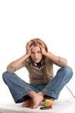 head tonårs- trycka på för flicka Arkivbild