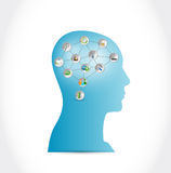 Head and tools link brain illustration design Stock Photos