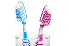 Head Toothbrush standing in a glass Stock Photos