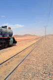 Head of the Train. Ancient Turkish Railroad of Wadi Rum, Jordan stock images