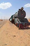 Head of the Train. Ancient Turkish Railroad in Wadi Rum, Jordan stock images
