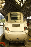 Head of the train, at railway station Stock Photo