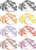 head trevligt för flicka vektor illustrationer