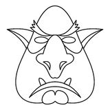 Head of troll icon, outline style Royalty Free Stock Image
