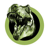 The head of the Tyrannosaurus. Rex with open mouth in the circle, sketch vector Stock Photography