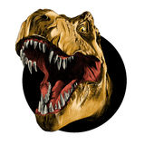 The head of the Tyrannosaurus. Rex with open mouth in the circle, sketch, vector, color image, orange leather Royalty Free Stock Images