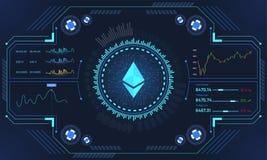 Head-Up επίδειξη (HUD) μιας πλατφόρμας εμπορικών συναλλαγών Ethereum, Cryptocur απεικόνιση αποθεμάτων