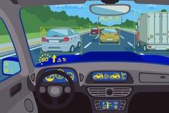 Head-up τεχνολογία συστημάτων στο αυτοκίνητο επίσης corel σύρετε το διάνυσμα απεικόνισης Στοκ Εικόνες