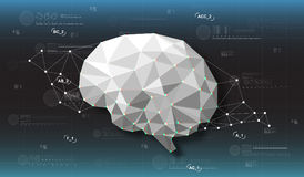 Head-up display elements for the web and app. Futuristic backgroung with poligonal brain. Stock Image
