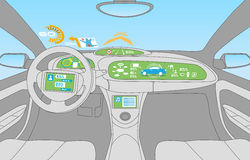 Head up display (HUD) and various display in car Stock Photo