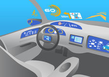 Head up display (HUD) and various displays in car, image illustration Stock Photo
