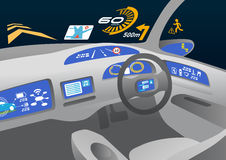 Head up display (HUD) and various displays in car, image illustration Stock Photography