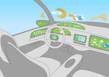 Head up display (HUD) and various displays in car, line drawing illustration Royalty Free Stock Photo
