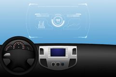 Head up display HUD and various displays in vehicle interior, vector illustration eps10 stock illustration
