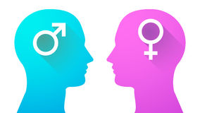 Head uppsättning med kvinnligt och manligt tecken Fotografering för Bildbyråer