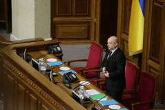 Head of Verkhovna Rada Olexander Turchynov during the parliament meeting. 27 November 2014. Head of Verkhovna Rada Olexander Turchynov during the parliament Royalty Free Stock Images