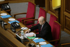 Head of Verkhovna Rada Olexander Turchynov during the parliament meeting. 27 November 2014. Head of Verkhovna Rada Olexander Turchynov during the parliament Royalty Free Stock Photo