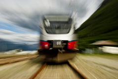 Head on view of fast train Stock Images
