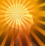 Head Vision. Head radiates warm yellow orange rays Stock Images