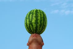 Head and water-melon stock images