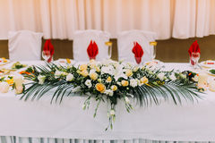 Head wedding table floral decoration close up Stock Images
