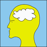 Head and white cloud inside Stock Image