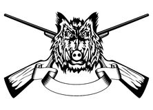 Head wild boar and crossed guns Royalty Free Stock Photos