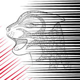 The head of a wild cat. Zen Tangle black and red scratch from animal claws. Stock Photos