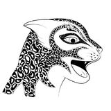 The head of a wild cat. Zen Tangle spotted a Cheetah. Colouring book with a Jaguar. The head of a wild cat vector illustration. Zen Tangle spotted a Cheetah Royalty Free Stock Images