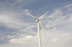 Head of a Wind Turbine with a Blue sky Stock Images