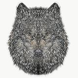 The head of a wolf, a dog, drawn with curved lines royalty free illustration