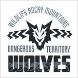 Head Wolf -  North American ornamental style Stock Photos