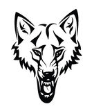 Head of a wolf with tribal Stock Photo