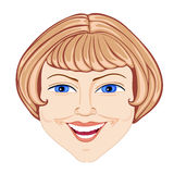 Head of the woman. Demonstration of a good smile with a fine white teeth Royalty Free Stock Images