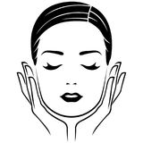 Head of woman with careful hands. Head of woman with closed eyes and with careful hands, lifestyle concept vector illustration Stock Photography