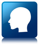 Head woman face icon blue square button Royalty Free Stock Images