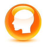 Head woman face icon glassy orange round button Royalty Free Stock Photo