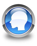 Head woman face icon glossy blue round button Royalty Free Stock Images