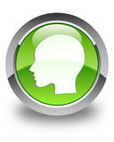 Head woman face icon glossy green round button Stock Photo