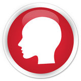 Head woman face icon premium red round button Royalty Free Stock Images
