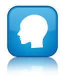 Head woman face icon special cyan blue square button Stock Photos