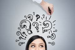 Head of woman and question marks Royalty Free Stock Images