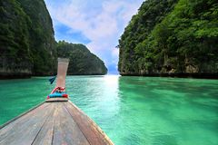 Head of wooden long tailed boat tour. Around Thailand Islands Stock Photos