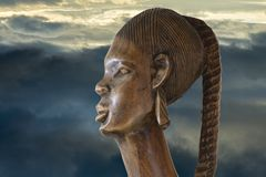 Head of wooden wooden African sculpture Royalty Free Stock Photos
