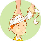 Head wrapped bandage child Royalty Free Stock Photo