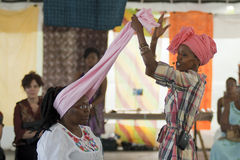 Head wrapping - workshop Stock Image