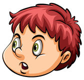 A head of a young boy. A head of an angry young boy on a white background Royalty Free Stock Images